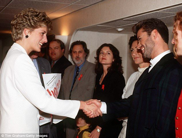 The British pop singer who first met the Princess of Wales backstage at a World AIDS Day Concert in Wembley Arena, became one of Diana's closest confidantes. Above they are pictured shaking hands at Concert of Hope in 1993