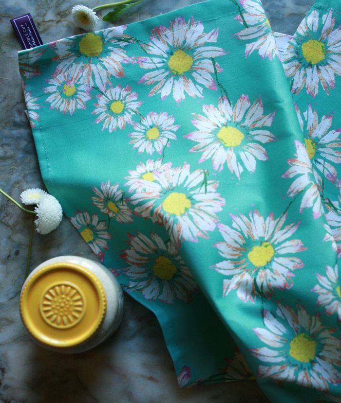 """Innocence"" daisy design Tea Towel £10. Designed and screen printed in England. Featuring original The Humble Cut potato-printed artwork #screen-printed #teatowels #daisies"