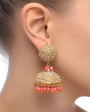 Like the color and design... Just wish that the size was. a bit smaller. [Jhumka Earrings with Pink Drops]