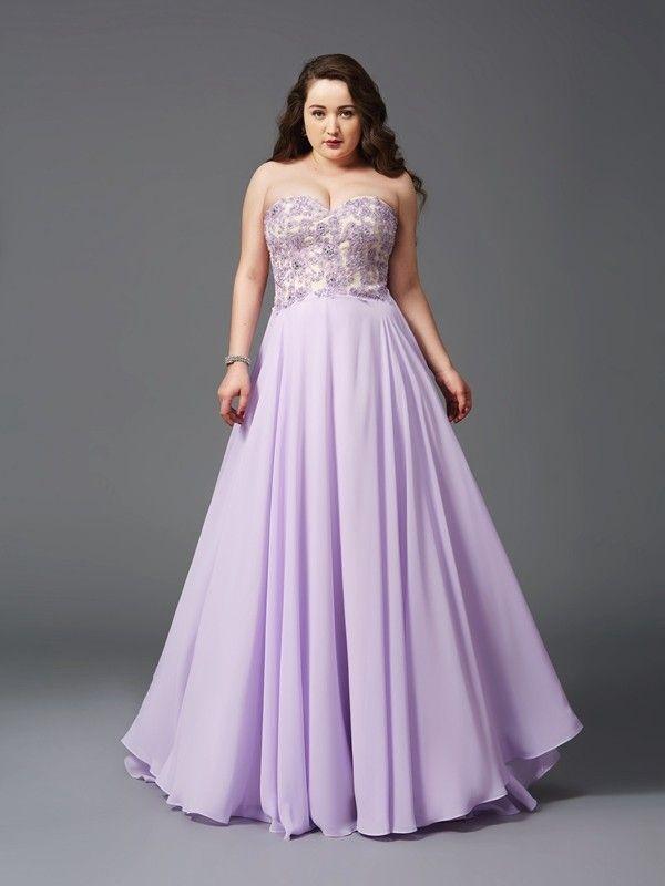 A-Line/Princess Sweetheart Lace Sleeveless Sweep/Brush Train Chiffon Dresses