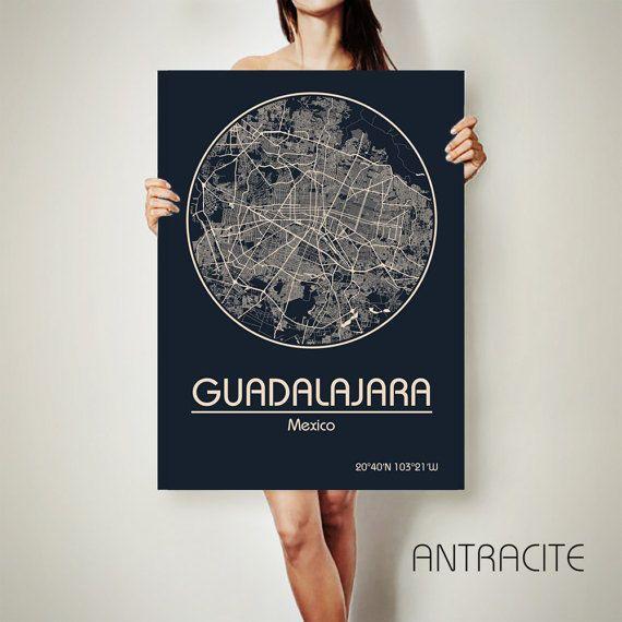 GUADALAJARA México lienzo mapa México cartel mapa Guadalajara