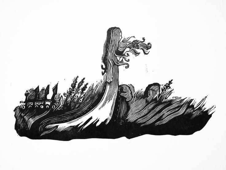 Linocut illustration to H.H. Andersen fairy tale The wild swans by Dmitry Okulich-Kazarin https://www.behance.net/dmitok