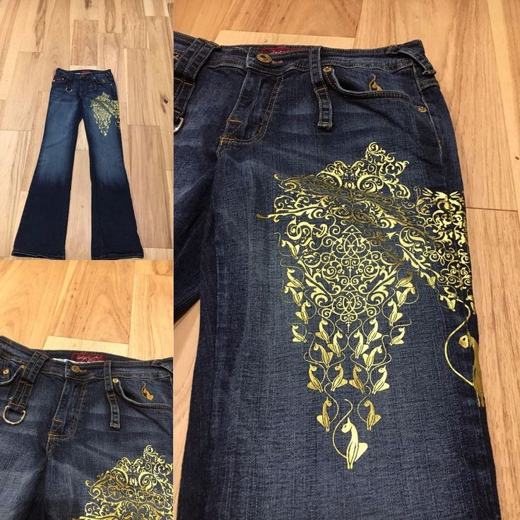 UNIQUE & FUN Women's GOLD Embellished BABY PHAT Boot Cut JEANS - Sz 7  #BabyPhat #BootCut