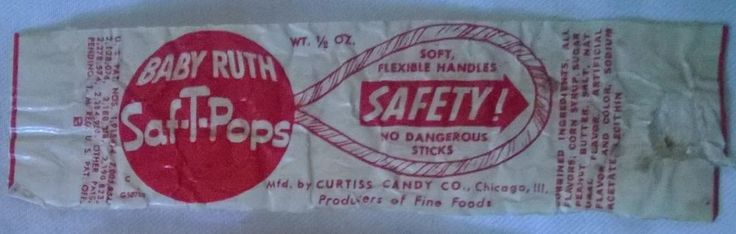 VINTAGE 1930s BABY RUTH SAF-T-POPS LOLLIPOP CANDY WRAPPER