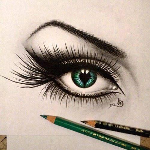C'est un œil fait au crayon pour me donner une idée comment en faire un ou regarder les détails des cils et en général.