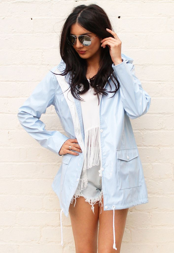 PVC Festival Raincoat Mac in Baby Blue - One Nation Clothing - One Nation Clothing - 3