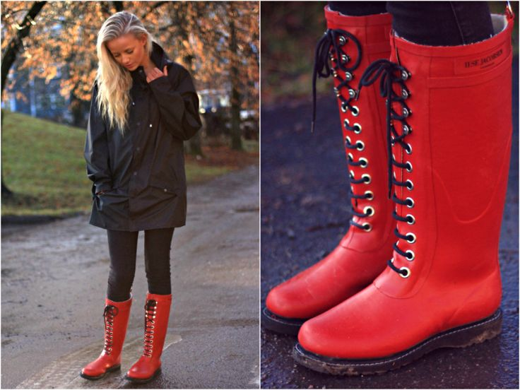 Jørgensen. Black raincoat. Red rain boots. Isle Jacobsen