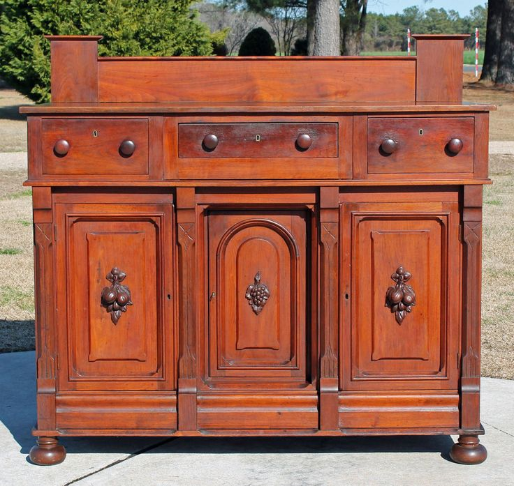 Solid Walnut Buffet ~ Empire victorian southern solid walnut sideboard buffet