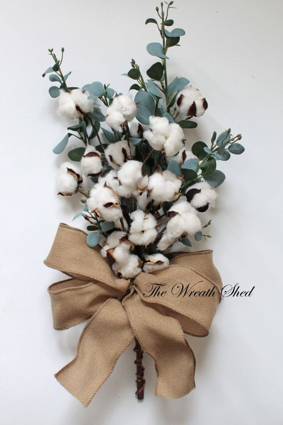 Cotton Anniversary Bouquet, 2nd Anniversary Gift, Natural Cotton Bolls, Cotton Arrangement, Bridal Bouquet, Wedding Decor, Blue Green Leaves
