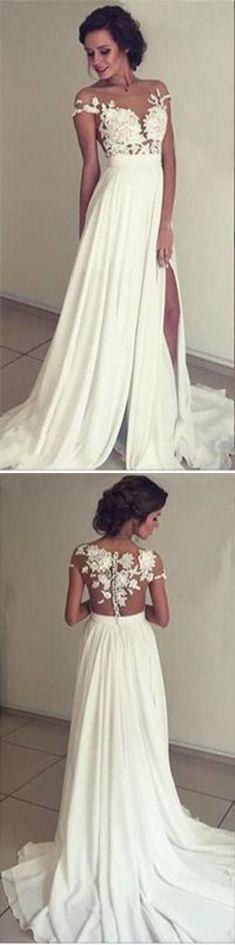 Chiffon Wedding Dress,Simple Prom Dress,Long Evening Dress,White Prom Dress,Split Prom Dresses,Prom Dress