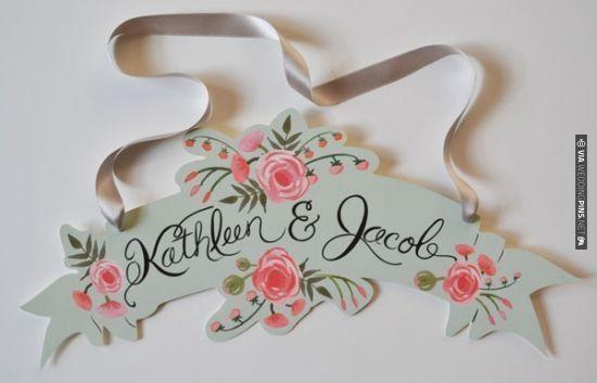 peach and mint custom banner | VIA #WEDDINGPINS.NET