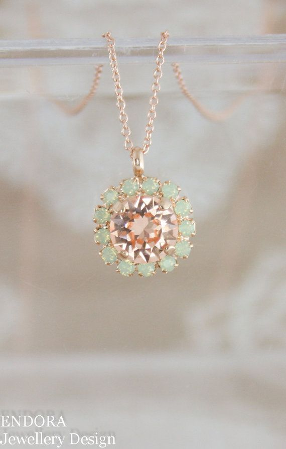 Crystal pendant necklaceSwarovski necklacepeach by EndoraJewellery