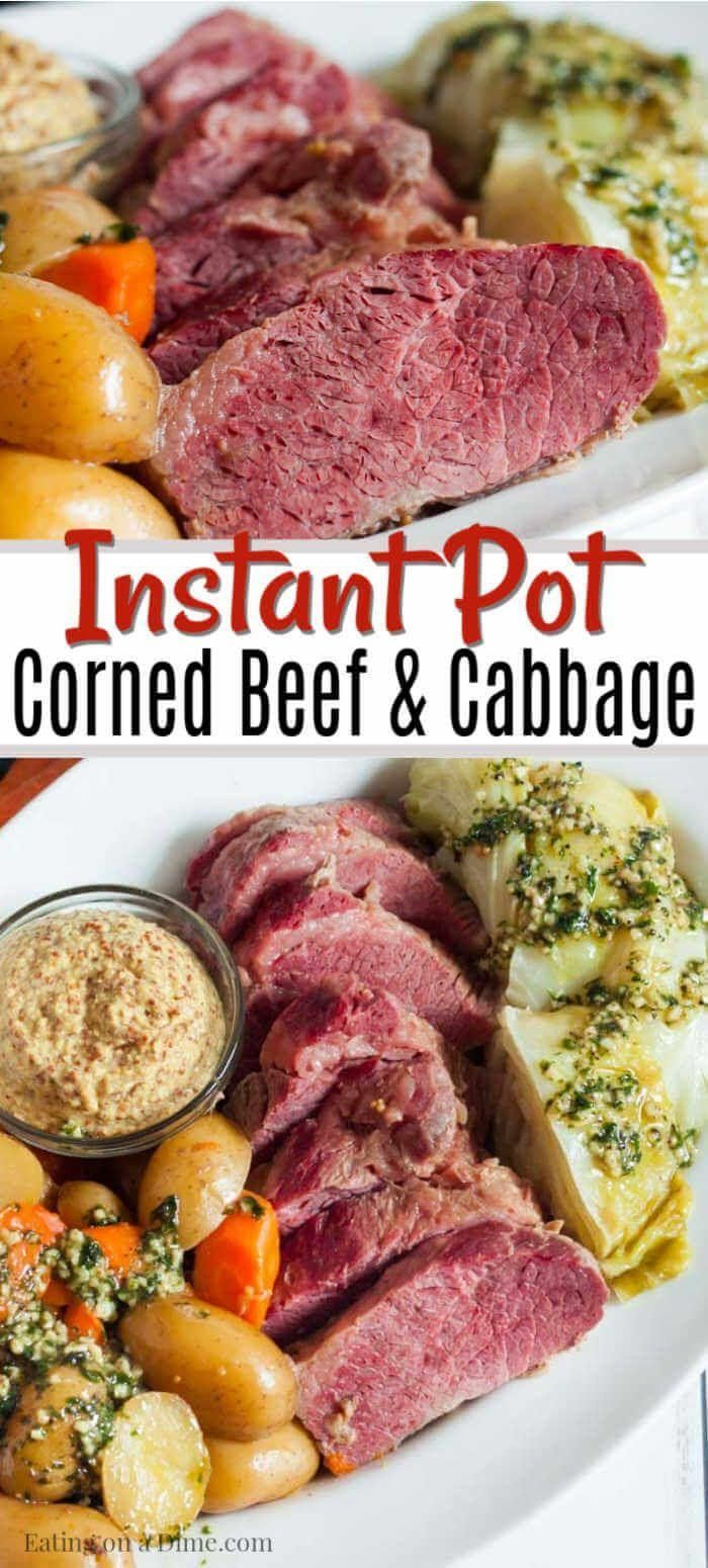 Instant Pot Corned Beef And Cabbage Eating On A Dime Beef Cabbage Corned Dime Corned Beef Recipes Instant Pot Corned Beef Recipe Corn Beef And Cabbage