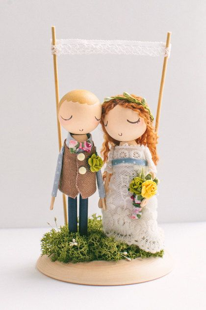 Custom Order/Rustic Wedding Cake Topper/Cake by theroomba on Etsy