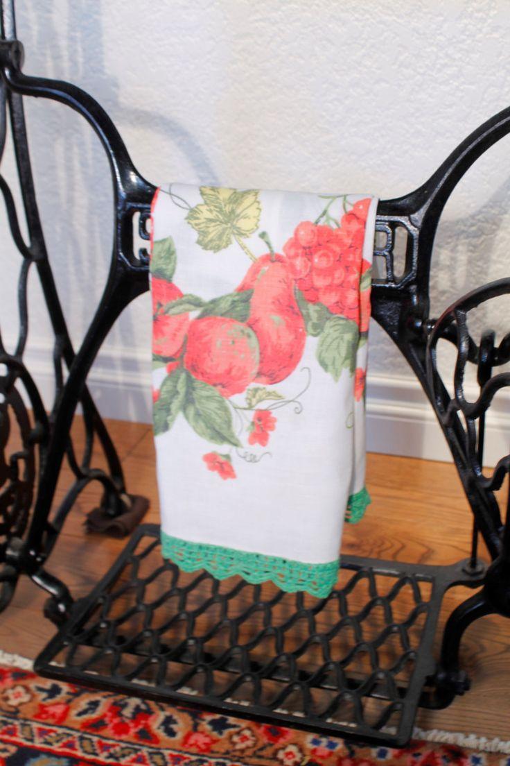Linen Tea Towel, Floral Tea Towel, Green Edged Tea Towel by ClockworkRummage on Etsy