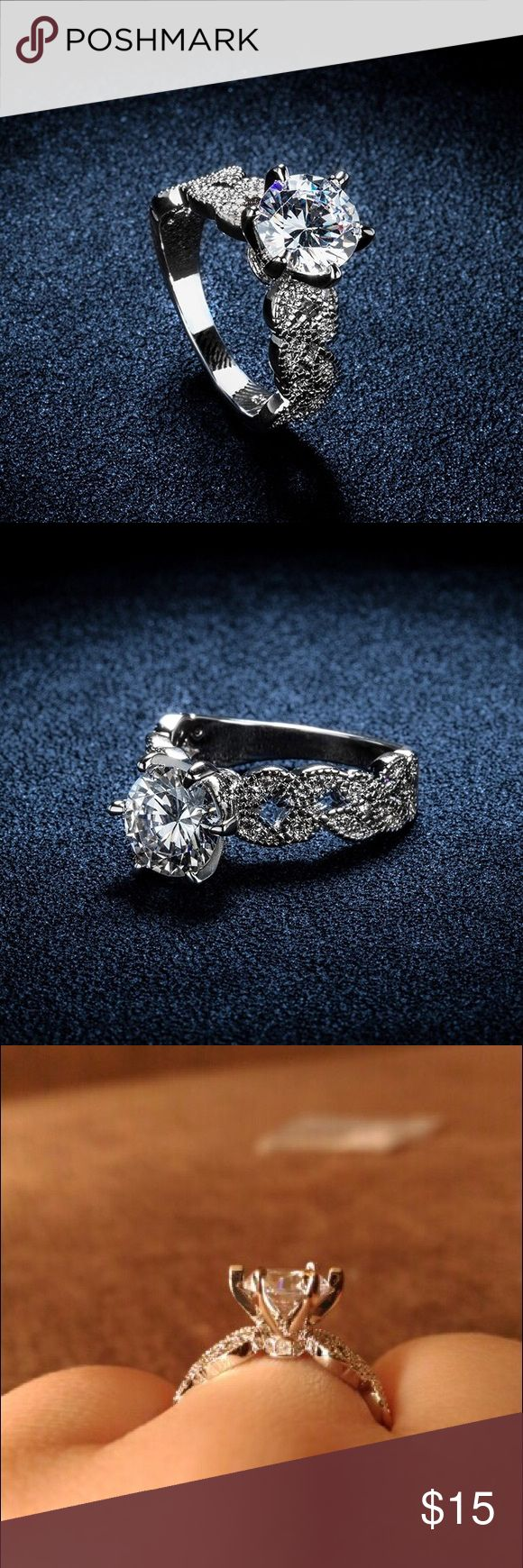 Engagement ring! 1.5 carat AAA CZ diamond jewelry Wedding engagement rings for women vintage White 585 Gold plated crystal fashionable ring!  • with a small box • price is firm  Happy shopping y'all! Jewelry Rings