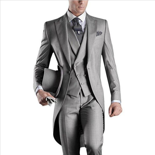 Cheap groom tuxedo, Buy Quality tuxedo buttons directly from China gray groom suit Suppliers: 2016 new long design gray one button Groom Tuxedos Best man Suit Wedding Groomsman/Men Suits Bridegroom(Jacket+Pants+Tie+Vest)