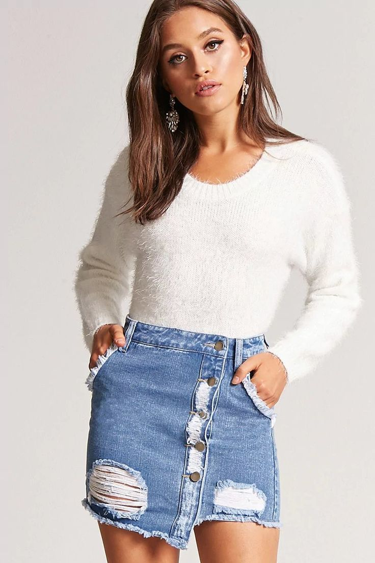 Product Name:Frayed Denim Mini Skirt, Category:bottom_jeans, Price:22.9