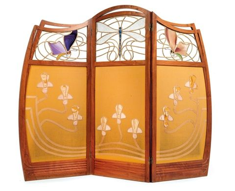 screen with dragonfly and butterflies by Gustave Serrurier-Bovy 1900