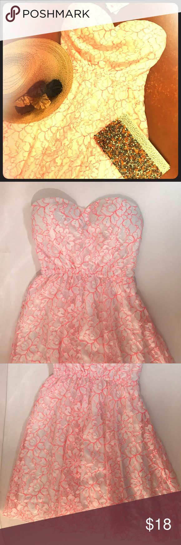 ⚙️NWT!! Coral & White Lace Dress Perfect condition!!  Coral and white lace overlaid dress, lined with white Polyester lining. Feel free to zoom into the pictures for a better look! Rue 21 Dresses Midi