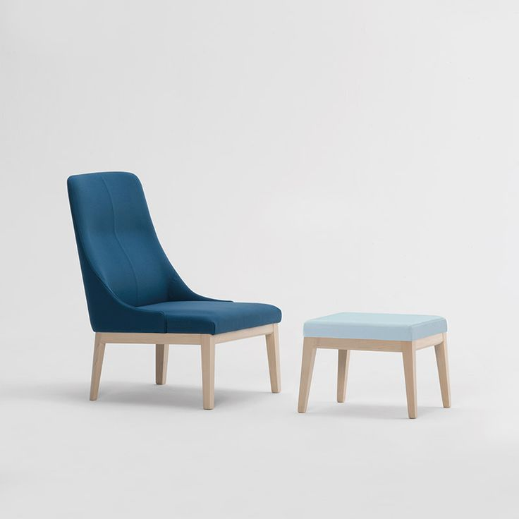 Eleanor in Blue | Sandler Seating. Upholstered lounge chair and stool on a solid wood frame.