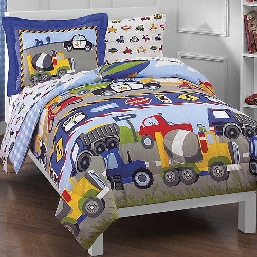 These Dream Factory Trucks Tractors & Cars bedding coordinates make bedtime fun! Its construction and road theme is perfect for boys on the go. Your little one will love taking this children's bedding out for a spin. Discover more kids room decorating and organizing tips and ideas @ http://kidsroomdecorating.net