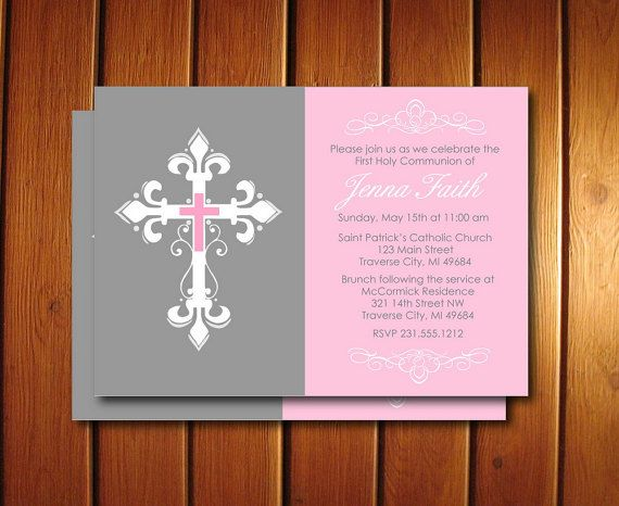Cross First Communion Invitation Printable by AnnounceItFavors