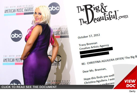 Christina Aguilera -- Plump $3,000,000 Offer from 'BIG' Women Dating Site