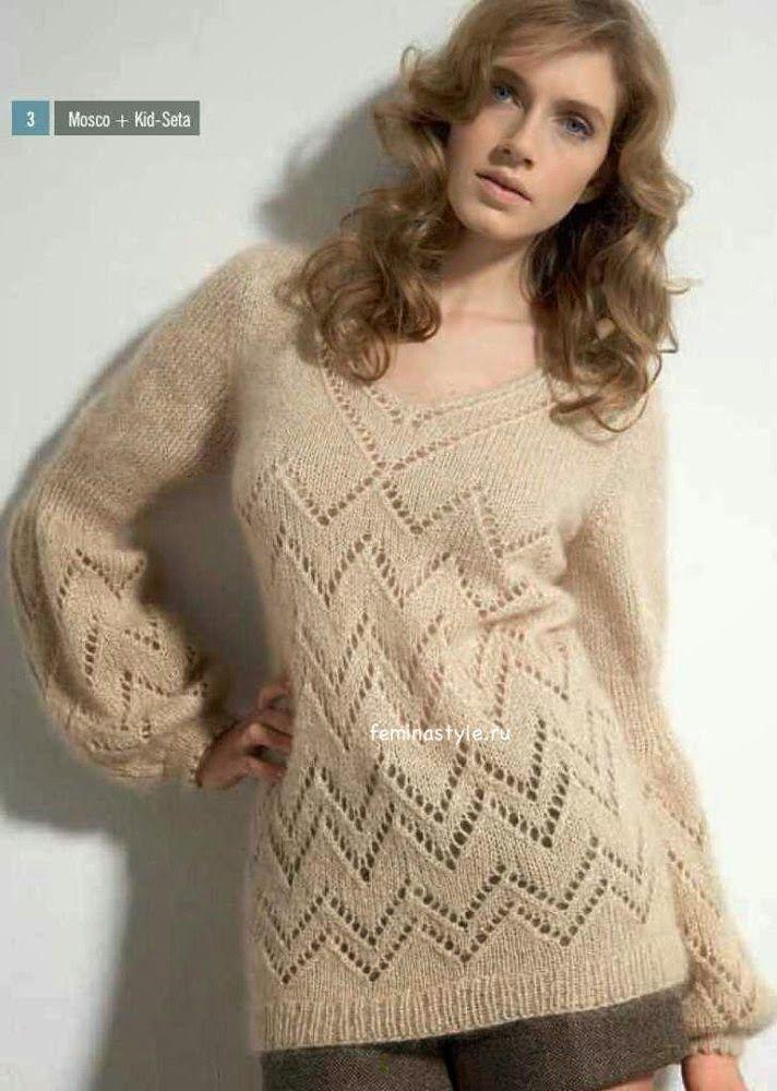 Мир хобби: Воздушный пуловер из мохера (вязание спицами)
