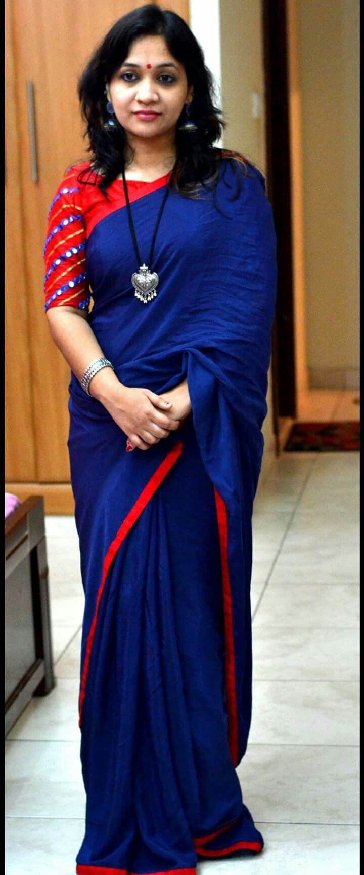 Dark blue and red Blouse design models, Red saree blouse