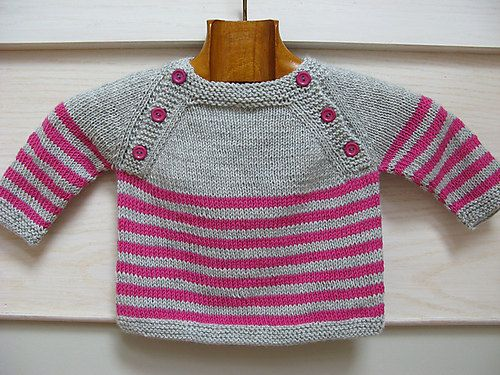 This listing is for a pdf pattern in english and in french. The pattern is also available on Ravelry  Langoz is a seamless baby sweater knit in the round from the top down. The upper back and front are worked flat, then pieces are joined and the striped body is knitted in the round. Sleeves are put on holders before being knitted in the round as well. The name Langoz comes from a beach in Loctudy, at the west of Brittany, in France. The pattern is inspired by a seaside style.  Size 3(6,9)…