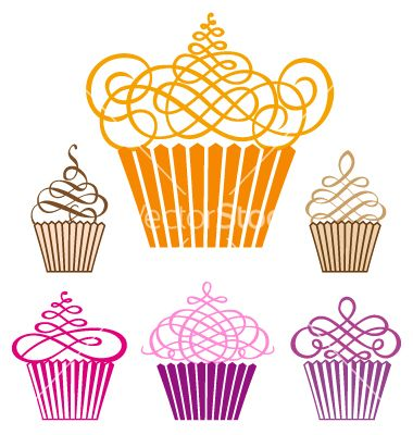 Really love the idea of a graphic cupcake, perhaps to incorporate into the logo. My favorite of these is the top left cupcake, I like the playfulness of the swirl, rather than feeling formal or fancy.