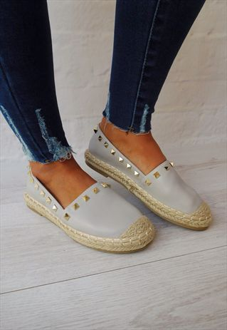 GREY ESPADRILLES WITH GOLD STUDS