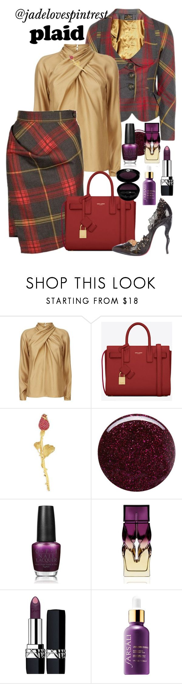 """Plaid Suit"" by jadelovespintrest ❤ liked on Polyvore featuring Temperley London, Yves Saint Laurent, Oscar de la Renta, Deborah Lippmann, OPI, Christian Louboutin, Christian Dior and Sephora Collection"