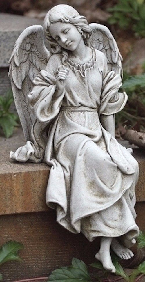 Seated Garden Memorial Angel Facing Left Lovely seated angel for home, garden, grave or prayer room. Measures 12 inches tall. Made of a resin and stone mix. Joseph studio collection. * Bench not inclu