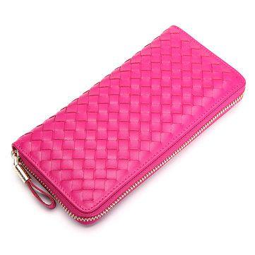 Women Men Genuine Leather Woven Pattern 8 Card Slots Cellphone Wallet Coins Bag - US$28.70