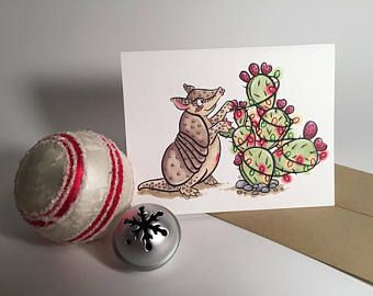 Armadillo Hanging Lights on a Prickly Pear Cactus for a Southwestern Christmas Greeting Card/Notecard/Holiday Card/Christmas Card