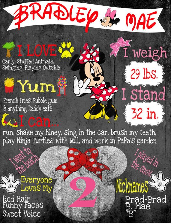 Minnie Mouse Birthday Chalkboard Poster