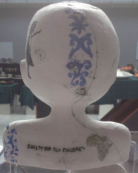 The 'Rainbow Children' ceramic project formed part of 'For the Good of Artkind' Exhibition at ArtB Gallery in 2014.