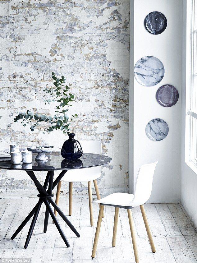 MARBLE TABLE, £2,700, Magnus Long, from The Conran Shop. On table: DARK BLUE VASE, £12, Ge...