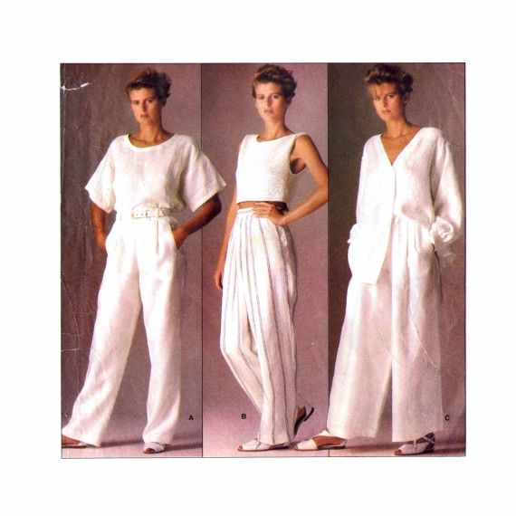 1980s Calvin Klein Straight Leg or Flared Pants Vogue 1508 Vintage Sewing Pattern