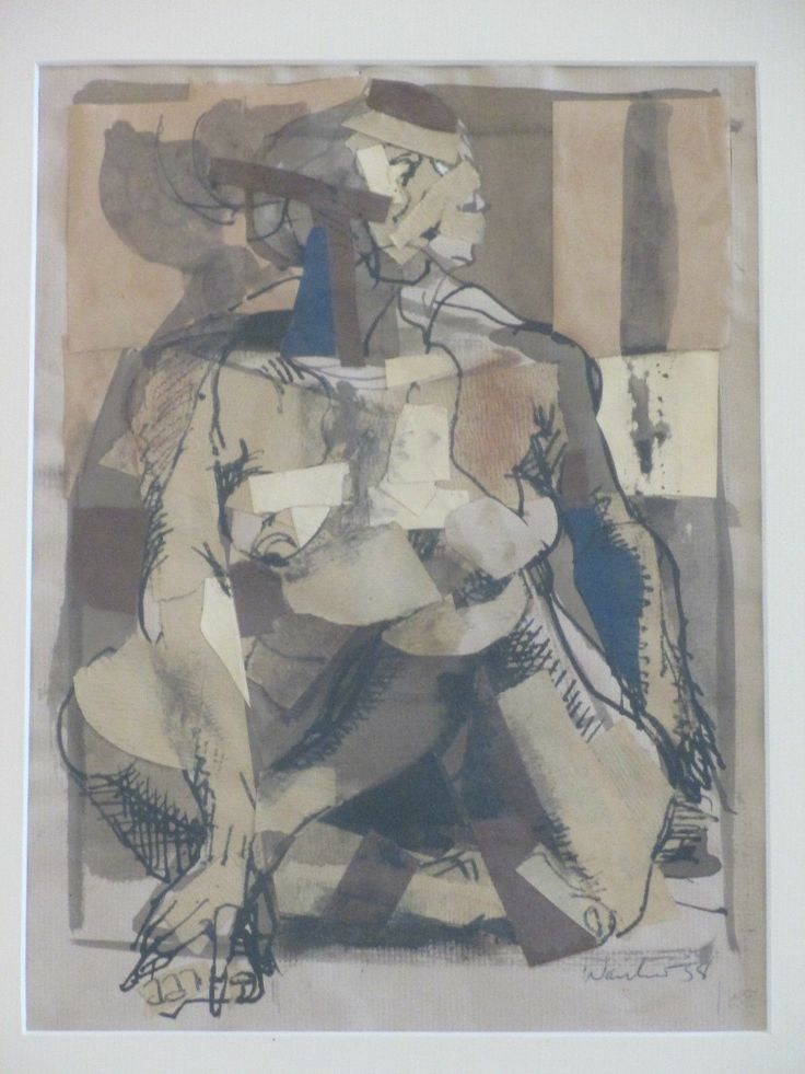 Howard Warshaw B 1920 New York Vintage Nude Expressionism Collage Painting | eBay