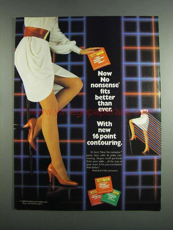 20d8766b53d 1984 No Nonsense Panty Hose Ad - Fits Better in 2019