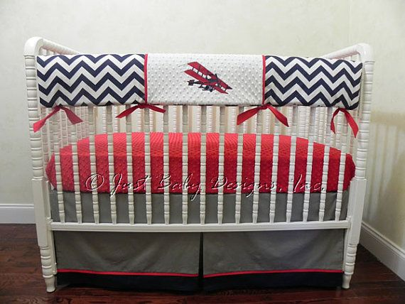 Bumperless Baby Boy Crib Bedding Set    by BabyBeddingbyJBD