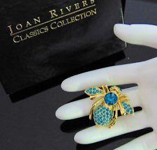 Новые Джоан Риверс Паве кристалл голубой топаз и пчела булавка большая брошь декабрь