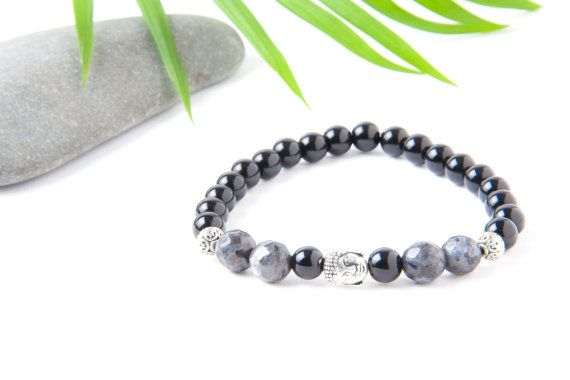 Buddha Bracelet Yoga Bracelet Onyx and by TempleOfTheStones