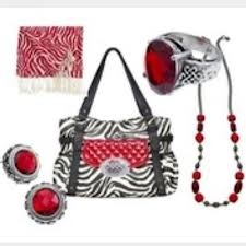 Zebra Mary bag with jane clutch and celtic medallion, red zebra scarf, celtic ring and studs, jewel necklace
