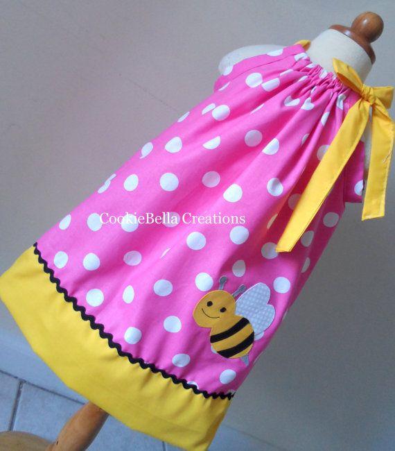 Bumble Bee Pink And Yellow Polka Dot Pillowcase Dress