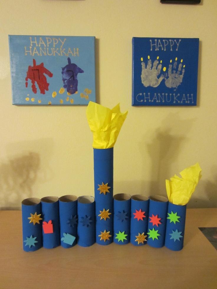 dreidel and menorah handprint art....Hanukkah Crafting