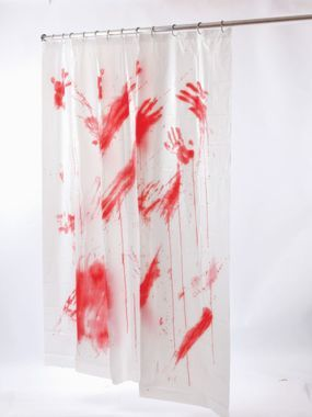 You'll go psycho over this shower curtain! Full size white curtain with bloody handprints and smears. Measures 70 inches x 72 inches.